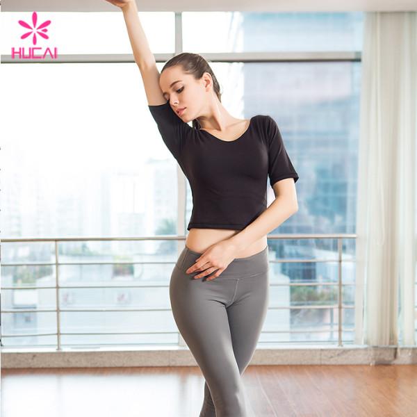 Wholesale Gym Shirt Short Sleeve Women Fitness Crop Top