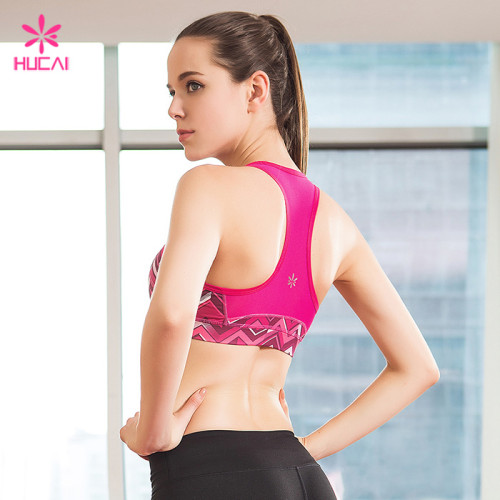 Wholesale Polyester Spandex Moisture Wicking Sports Wear Racerback Printed Yoga Bra