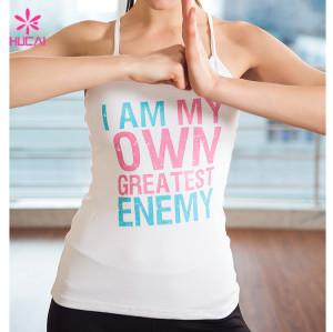 Wholesale Cotton Spandex Fitness Wear Slim Fit Printed Women Yoga Vest