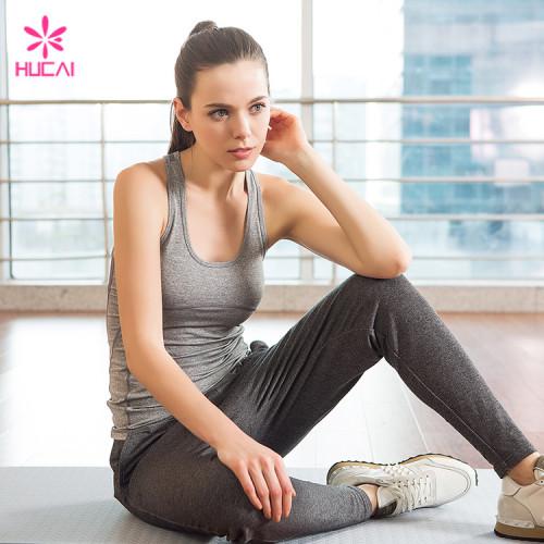 Custom Heather Grey Slim Fit Gym Wear Dry Fit Yoga Tank Top