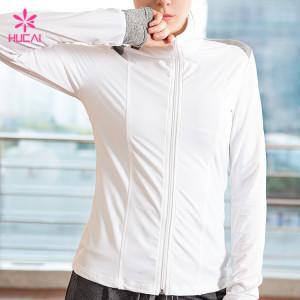 Wholesale Nylon Spandex Quick Dry Women Fitness Jacket With Thumb Hole