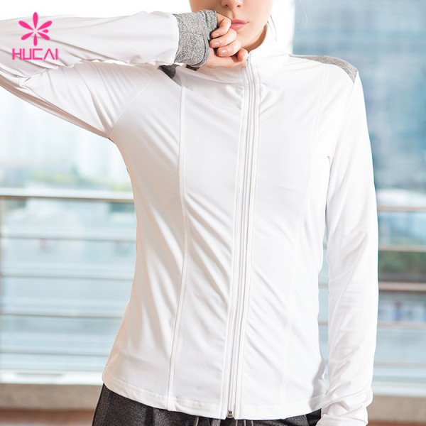 Wholesale Nylon Spandex Quick Dry Women Fitness Jacket With Thumb Hole