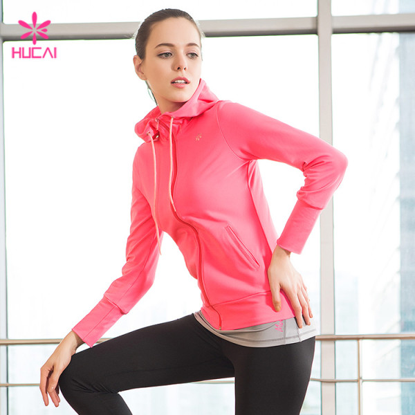 Wholelsae Nylon Spandex Slim Fit Yoga Wear Women Zipper Running Jacket