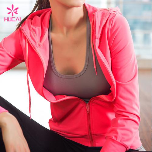 Wholelsae Nylon Spandex Slim Fit Yoga Wear Women Zipper Running Jacket