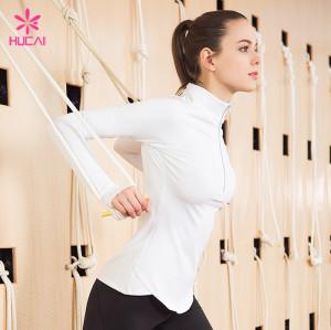 High Quality Nylon Spandex Half Zip Fitness Jacket Women Workout Clothes