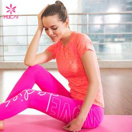 Wholesale Space Dye Fitness Wear Dry Fit Women Sports T Shirt
