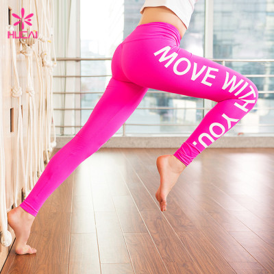 Wholesale Nylon Spandex Yoga Tights Pants Slim Fit Printed Women Running Leggings