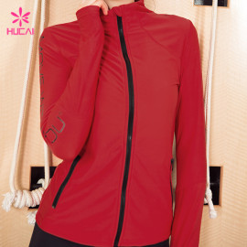 Wholesale Nylon Spandex Fitness Wear Women Workout Jacket With Thumb Hole