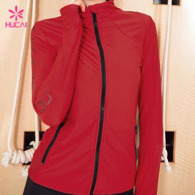 Wholesale Nylon Spandex Fitness Wear Women Workout Jacket With Thumb Hole