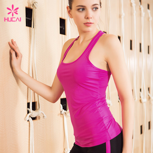 Wholesale Polyester Spandex Dry Fit Gym Clothing Racerback Slim Fit Women Fitness Vest