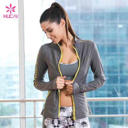 Wholesale Nylon Spandex Gym Wear Activewear Yoga Jacket For Women