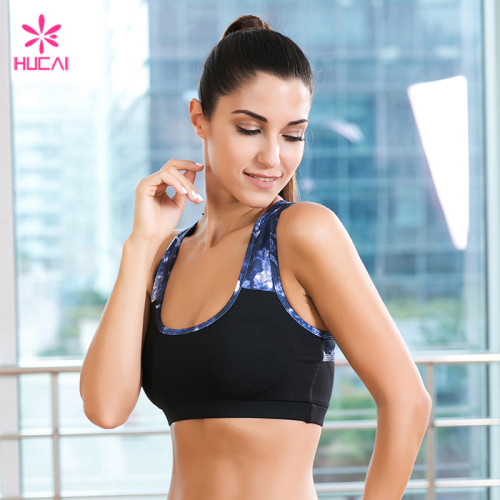 Wholesale Sports Bra Gym Wear Dry Fit Racerback Printed Women Crop Top