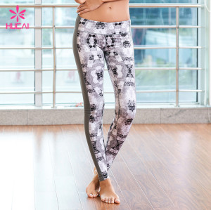 Custom Slim Fit Gym Clothing Tights Women Printed Yoga Leggings With Side Stripe