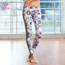 Custom Slim Fit Gym Clothing Tights Women Printed Yoga Leggings With Side Stripe