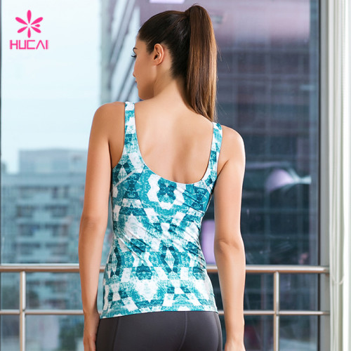 Wholesale Polyester Spandex Fitness Clothing Vest Women Dry Fit Gym Printed Tank Top