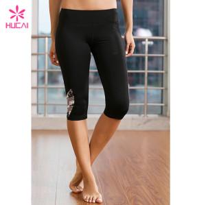 Wholesale Fitness Pants Gym Tights Dry Fit Women Printed Capri Yoga Leggings