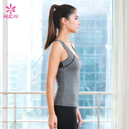 Custom Sleeveless T Shirt Mesh Back Slim Fit Women Athletic Tank Top