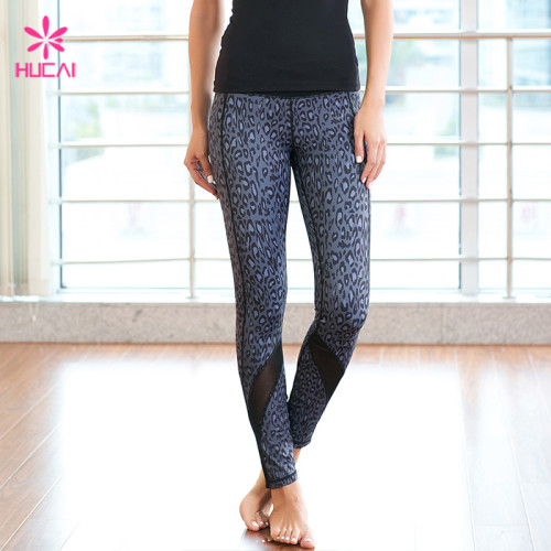 Full Length Flatlock Stitching Women Mesh Bottom Leopard Print Yoga Pants
