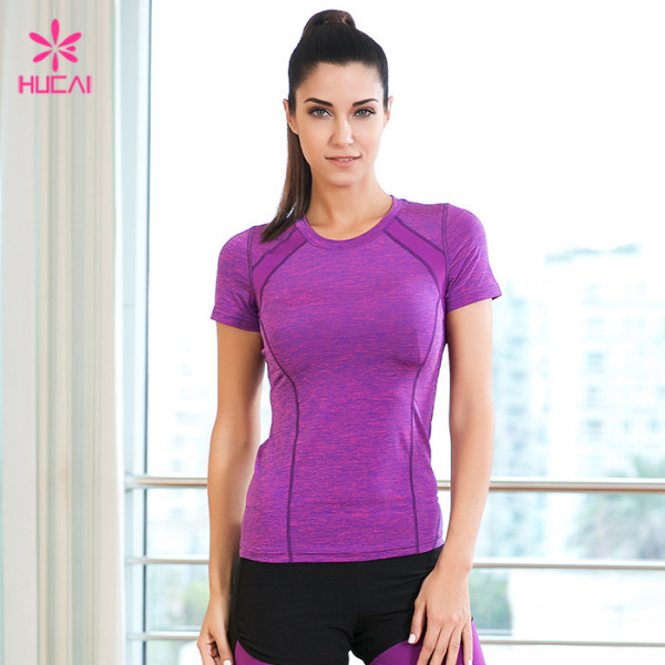 Custom Short Sleeve Fitness Wear Flatlock Stitching Mesh Insert Women Gym Shirt