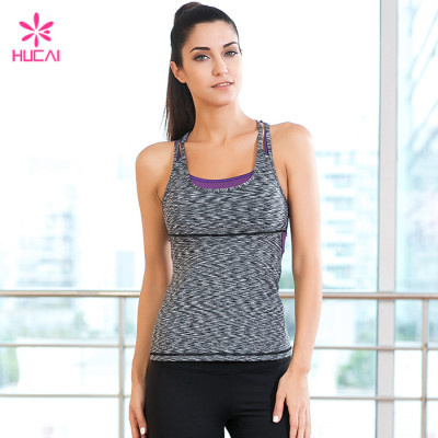 Wholesale Gym Wear Space Dyed Mesh Panel Ladies Tank Top With Built In Bra