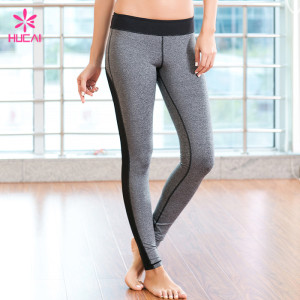 Custom Medium Rise Heather Gray Flatlocking Stitching Women Full Length Mesh Yoga Pants