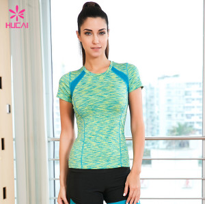 Wholesale Short Sleeve Four Needles Six Lines Mesh Insert Women Space Dye Yoga Shirt