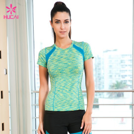 Wholesale Short Sleeve Four Needles Six Lines Mesh Insert Women Space Dye Yoga Shirt