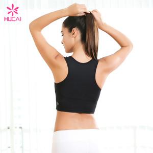 Wholesale Nylon Spandex Yoga Sports Gym Wear Ladies Plain Crop Top