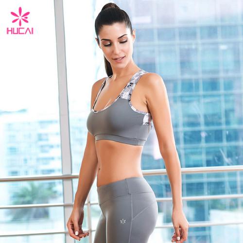 Wholesale Nylon Spandex Sports Wear Women Pritned Racerback Yoga Bra