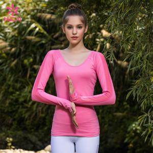 Wholesale Crew Neck Gym Wear Dri Fit Long Sleeve Shirts Women