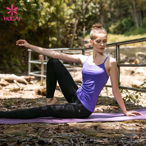 Wholesale 86%Nylon 14%Spandex Sexy Laides Slim Fit Purple Yoga Top