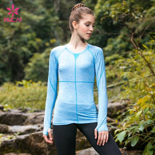Custom Quick Dry Sexy Mesh Back Panel Long Sleeve Gym Shirts Women With Thumb Hole