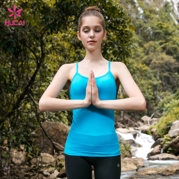 Wholesale Nylon Spandex Plain Blue Strappy Workout Tank Top For Girls
