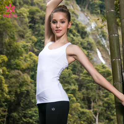 Wholesale Gym Wear Strappy Back Quick Dry Slim Fit Women White Training Tank Top