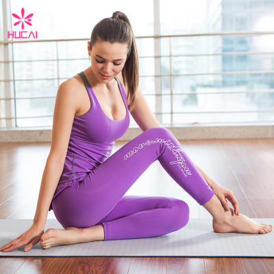 Wholesale Yoga Tank Top And Ruffle Sports Leggings Custom Gym Wear Sets Women