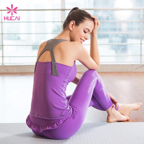 Wholesale Yoga Tank Top And Ruffle Sports Leggings Custom Gym Wear Sets Women