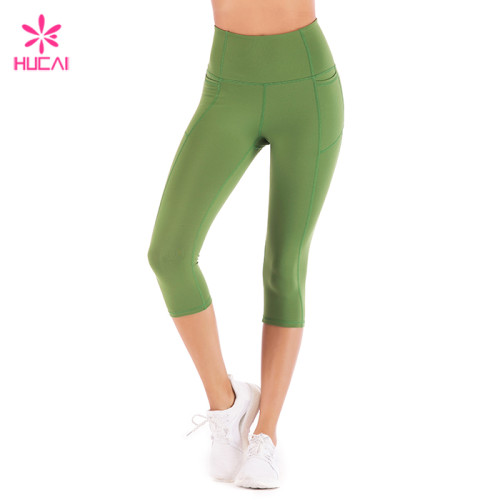 Wholesale High Waisted Army Green Women Capri Workout Leggings With Pockets