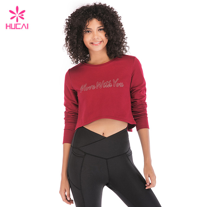 Burgundy Long Sleeve Crop Top
