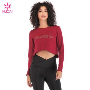 Wholesale Loose Fit Women Casual Burgundy Long Sleeve Crop Top Hoodie