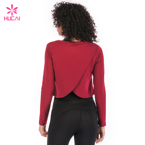 Wholesale Loose Fit Women Casual Burgundy Long Sleeve Crop Top Hoodie