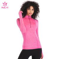 Custom Dry Fit Long Sleeve Nylon Spandex Half Zip Sport Jacket For Women
