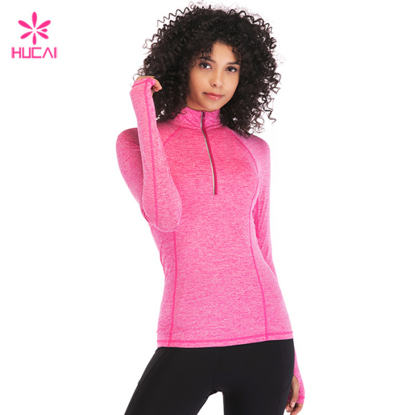 Custom Dry Fit Long Sleeve Nylon Spandex Half Zip Sport Jacket For Women