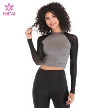 Custom Polyester Spandex Dry Fit Gym Clothing Women Mesh Plain Yoga Long Sleeve Crop Top