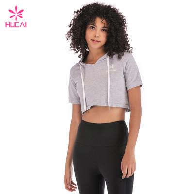 Wholesale Custom Fitness Top Long Sleeve Women Plain Crop Hoodie