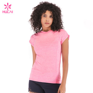 Wholesale Polyester Spandex Short Sleeve Dry Fit Women Running Shirt Cheap