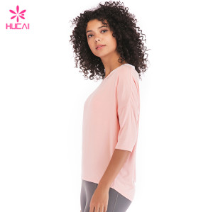 Wholesale Modal Spandex Yoga Top Long Sleeve Loose Fit Women Tee Shirts For Yoga