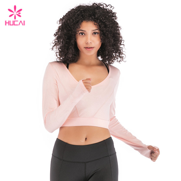 Wholesale Nylon Spandex Low Neckline Slim Fit Women Crop Long Sleeve T Shirt