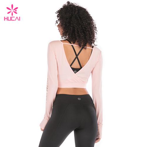 Wholesale Nylon Spandex Low Neckline Slim Fit Women Crop Long Sleeve T Shirt