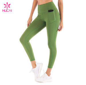 Wholesale Workout Leggings Sports Pants Women Full Length Olive Green Gym Tights
