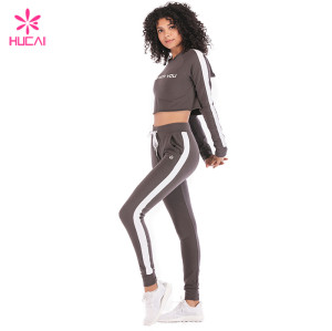 Wholesale Crop Top Hoodie And Jogger Pants Set Loose Fit Women Cotton Yoga Wear